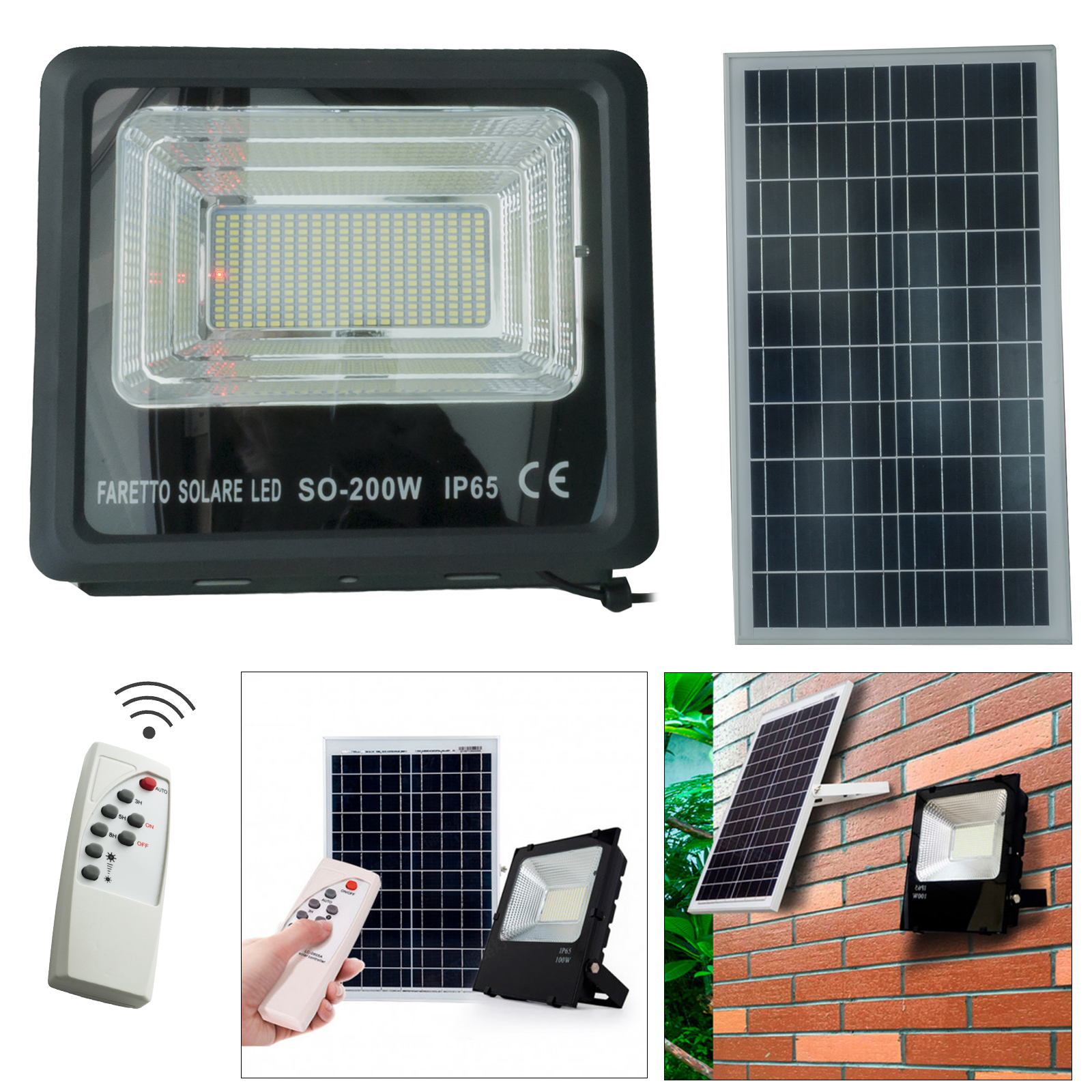 LED floodlight 200W twilight solar panel, battery light, outdoor garden IP65