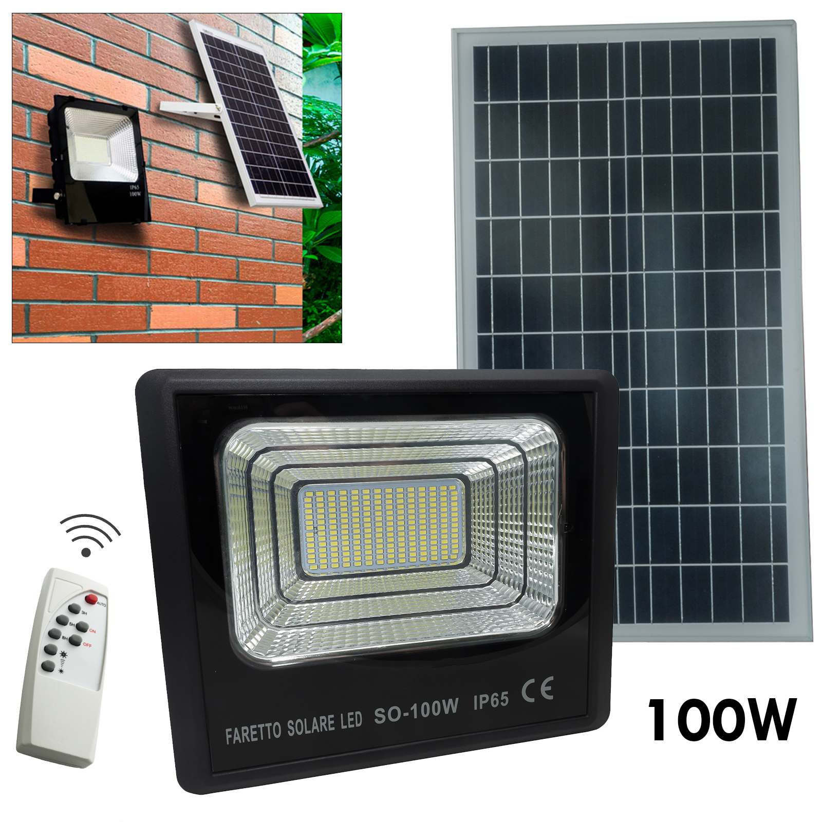 Lighthouse LED projector twilight 100W charging panel, solar garden light IP65