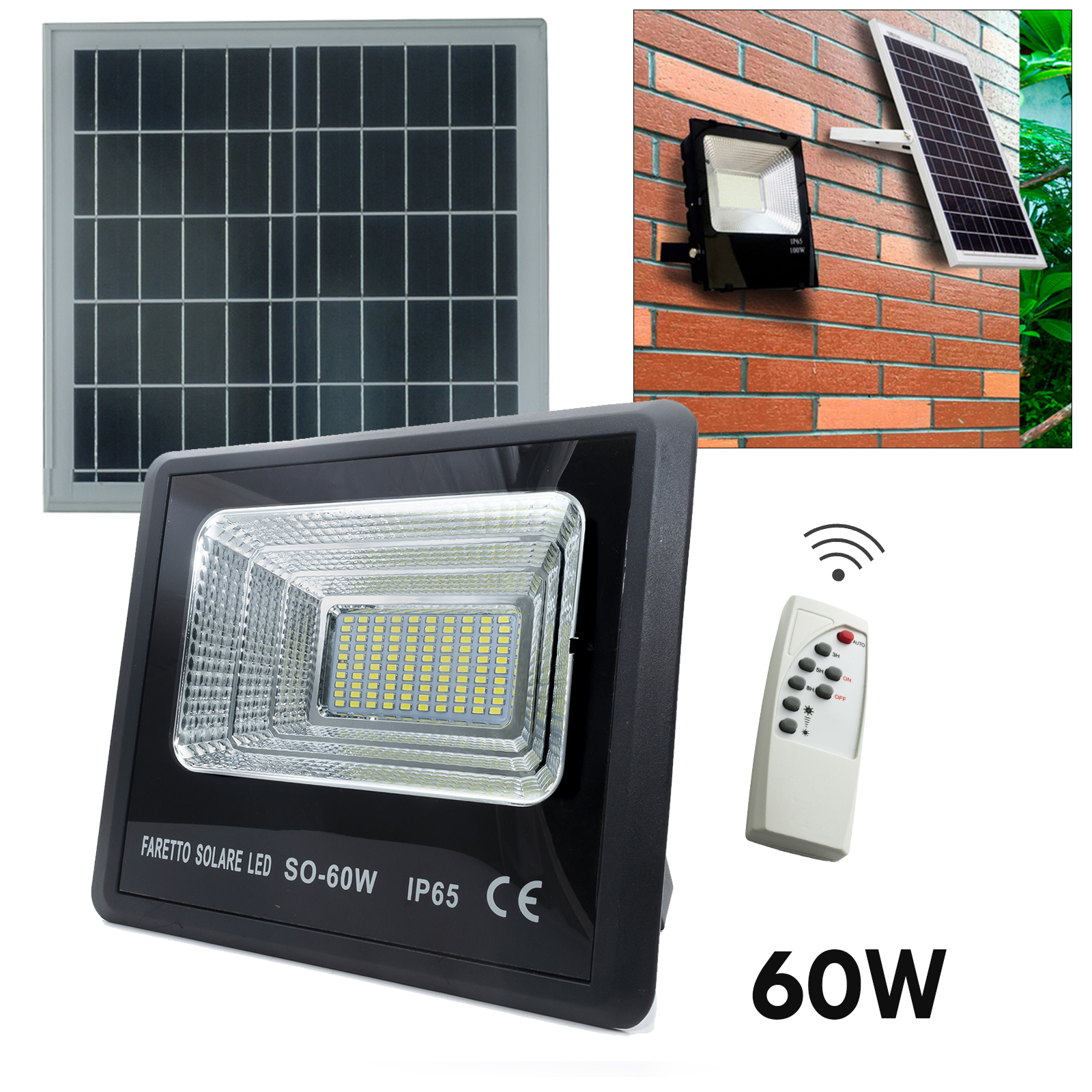 LED spotlight 60W light dependent charging solar panel garden light 6000K IP65