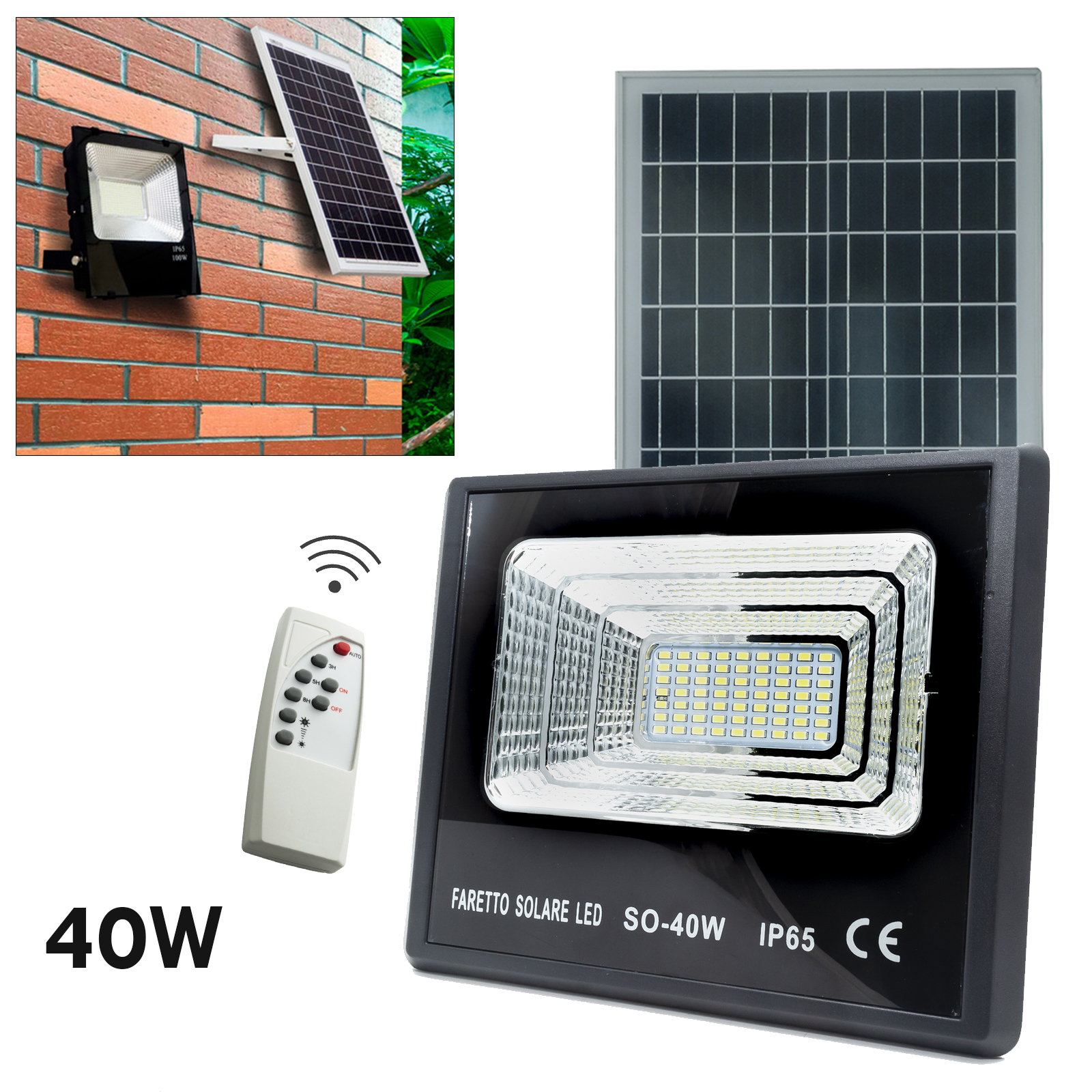 LED spotlight twilight 40W solar light outdoors garden 6000K IP65