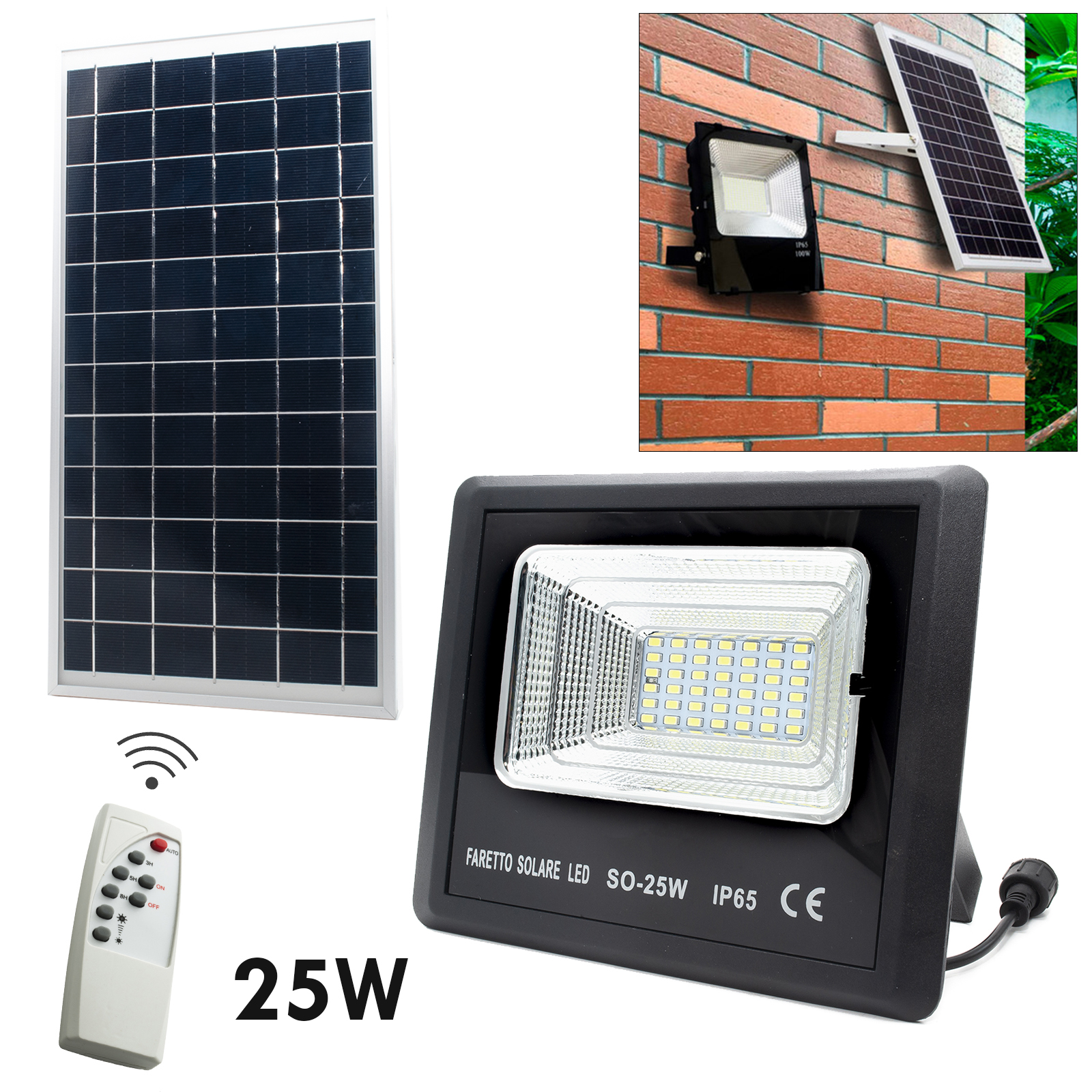 LED spotlight light sensor 25W panel solar lights security 6000K IP65