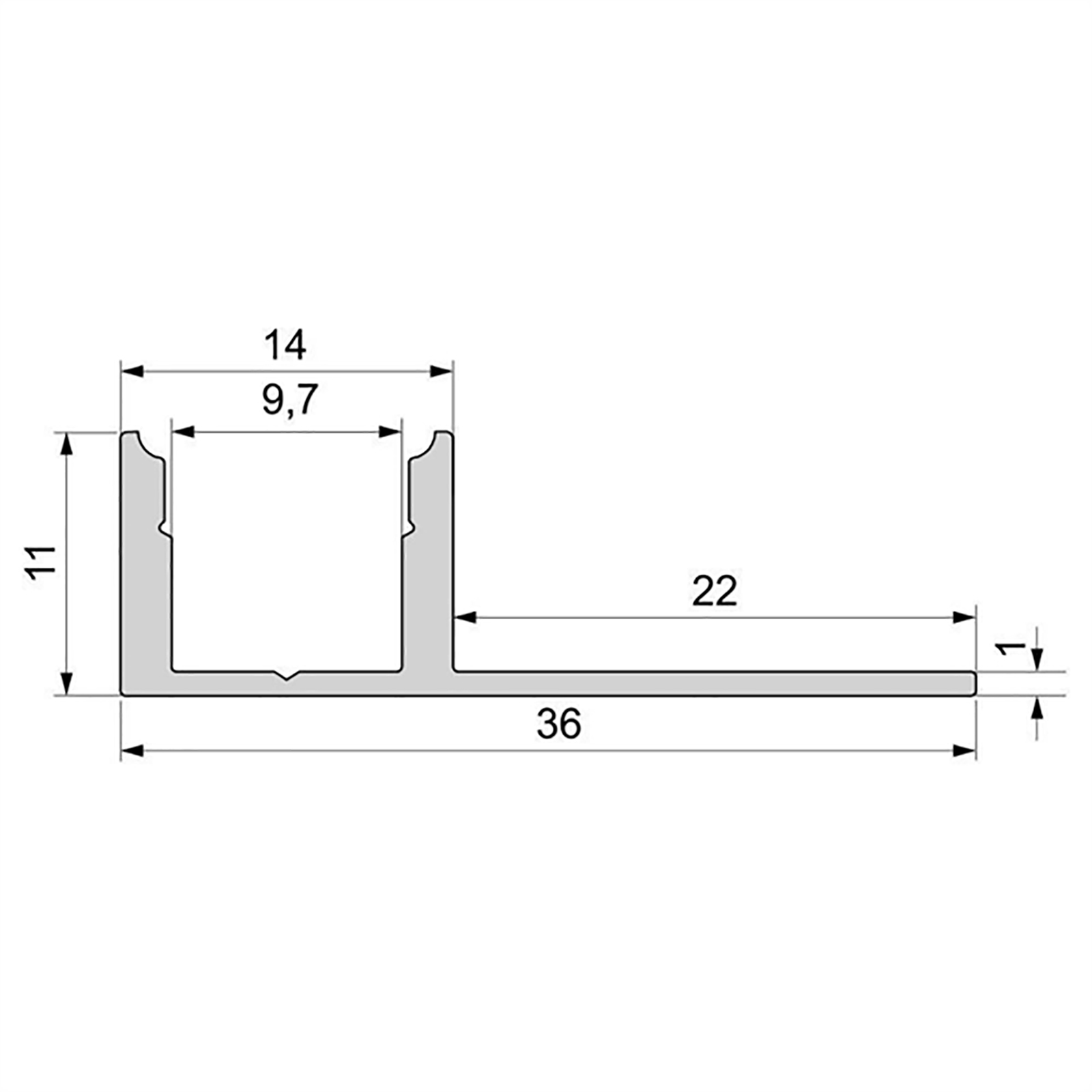 Aluminium profile, recessed, concealed tiled wall-ceiling support strips LED 36mm EL-01-08