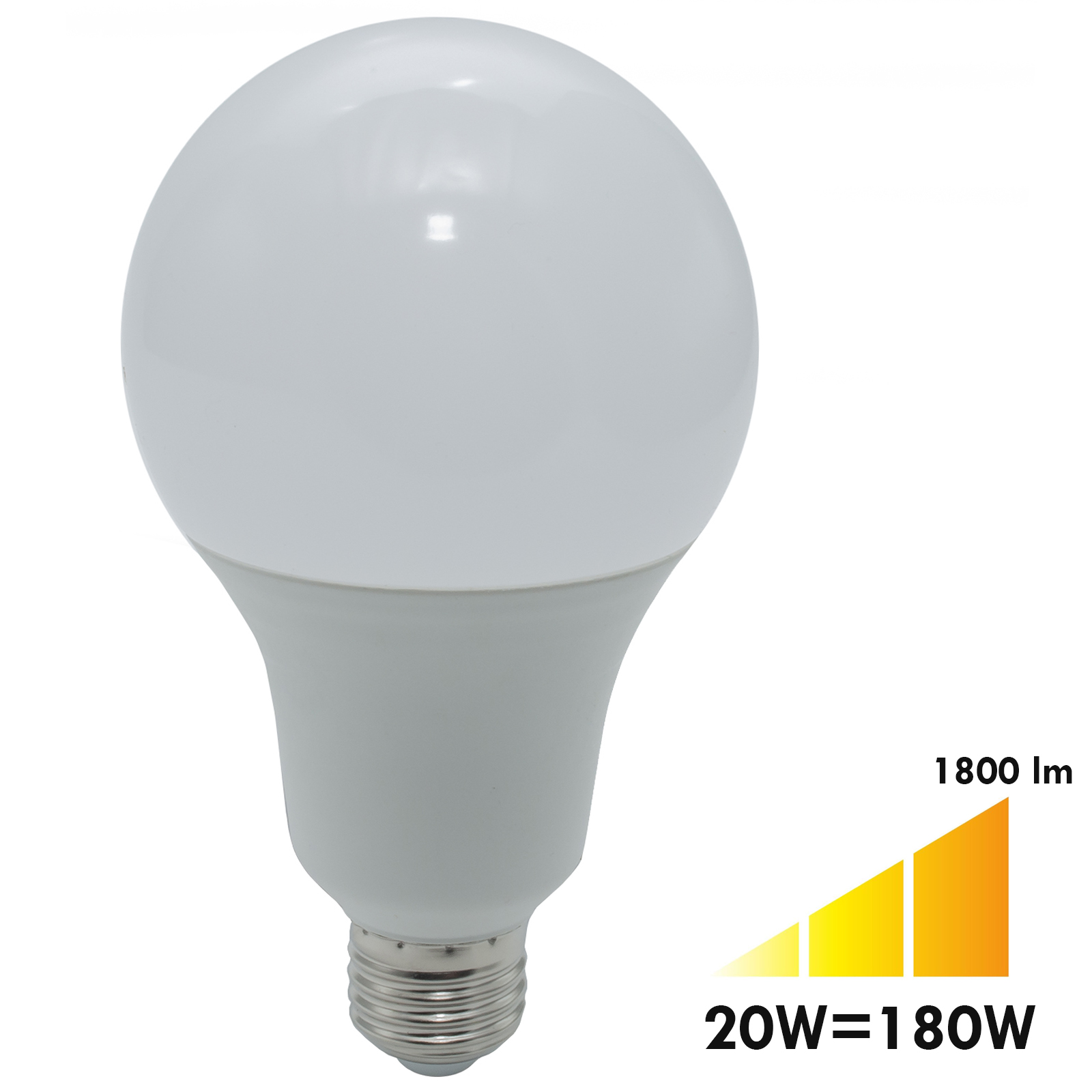 LED lamp 20W yield 180W bulb E27 A80 1800 lumen 3000K 4000K 230V
