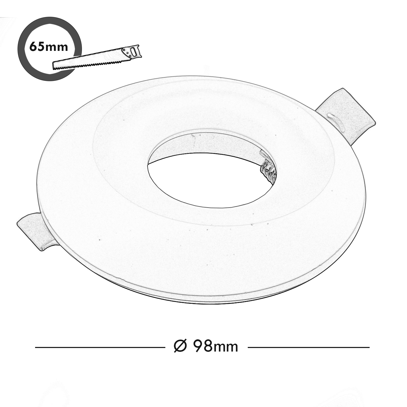 Portafaretto white recessed 65mm modern light decentralised ceiling LED GU10 GU5.3
