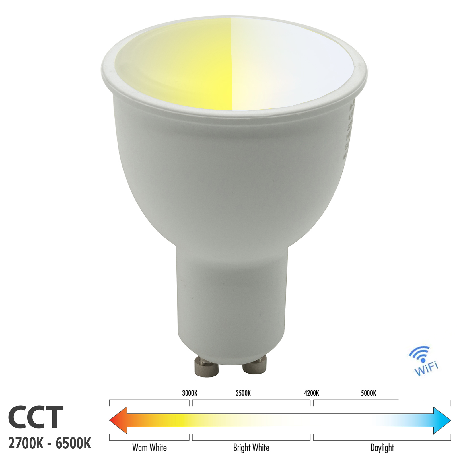 LED bulb GU10 spot light bulb smart WiFi dimmable 2700K to 6500K Alexa Google