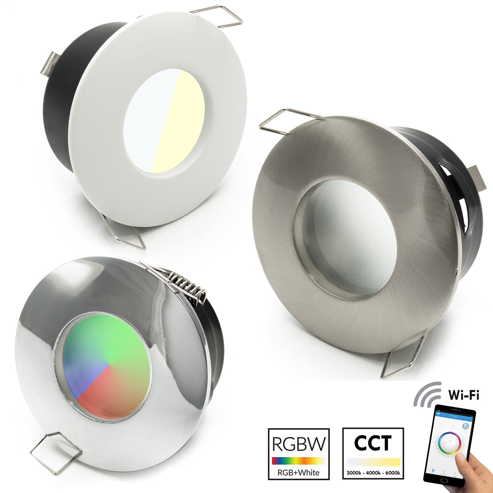 LED spotlight, recessed, 70mm shower lamp WiFi light multicolor RGB CCT IP65