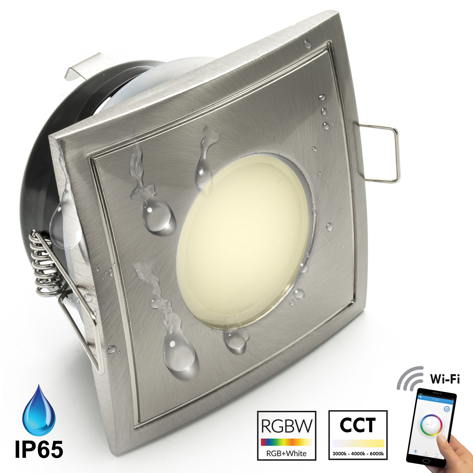 Spotlight LED recessed square 7cm WiFi light multi-color RGB, CCT bathroom shower IP65