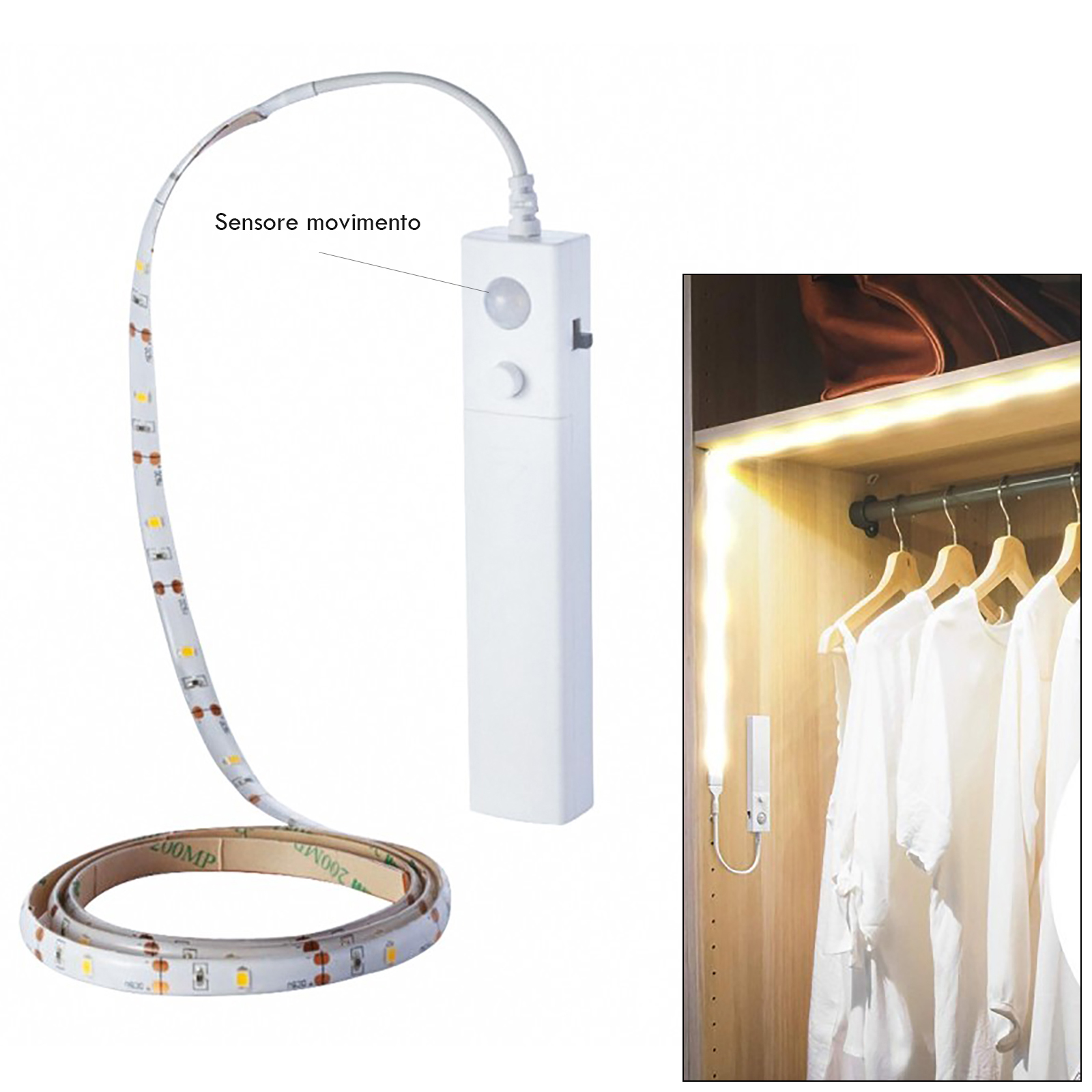 LED strip battery motion sensor PIR automatic light wardrobe furniture 4000K