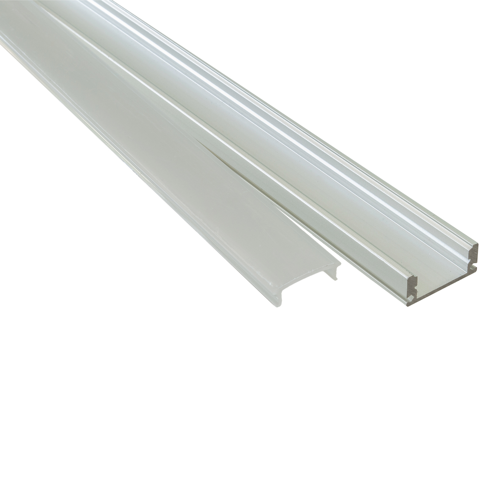 Profile aluminium 2m U FLAT surfaces, flat strips, LED rigid bar cover opaque