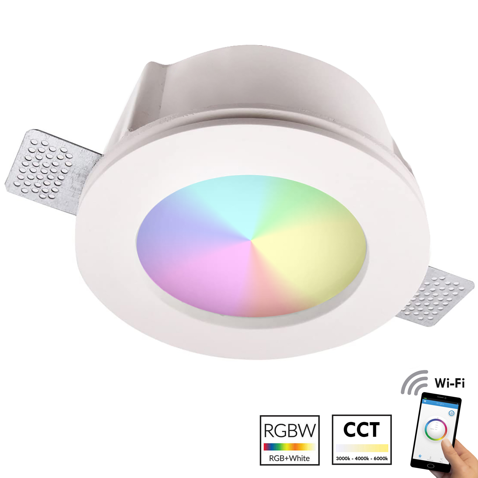 Spotlight plaster recessed round 125mm LED multi-color RGB bulb WiFi light ceiling