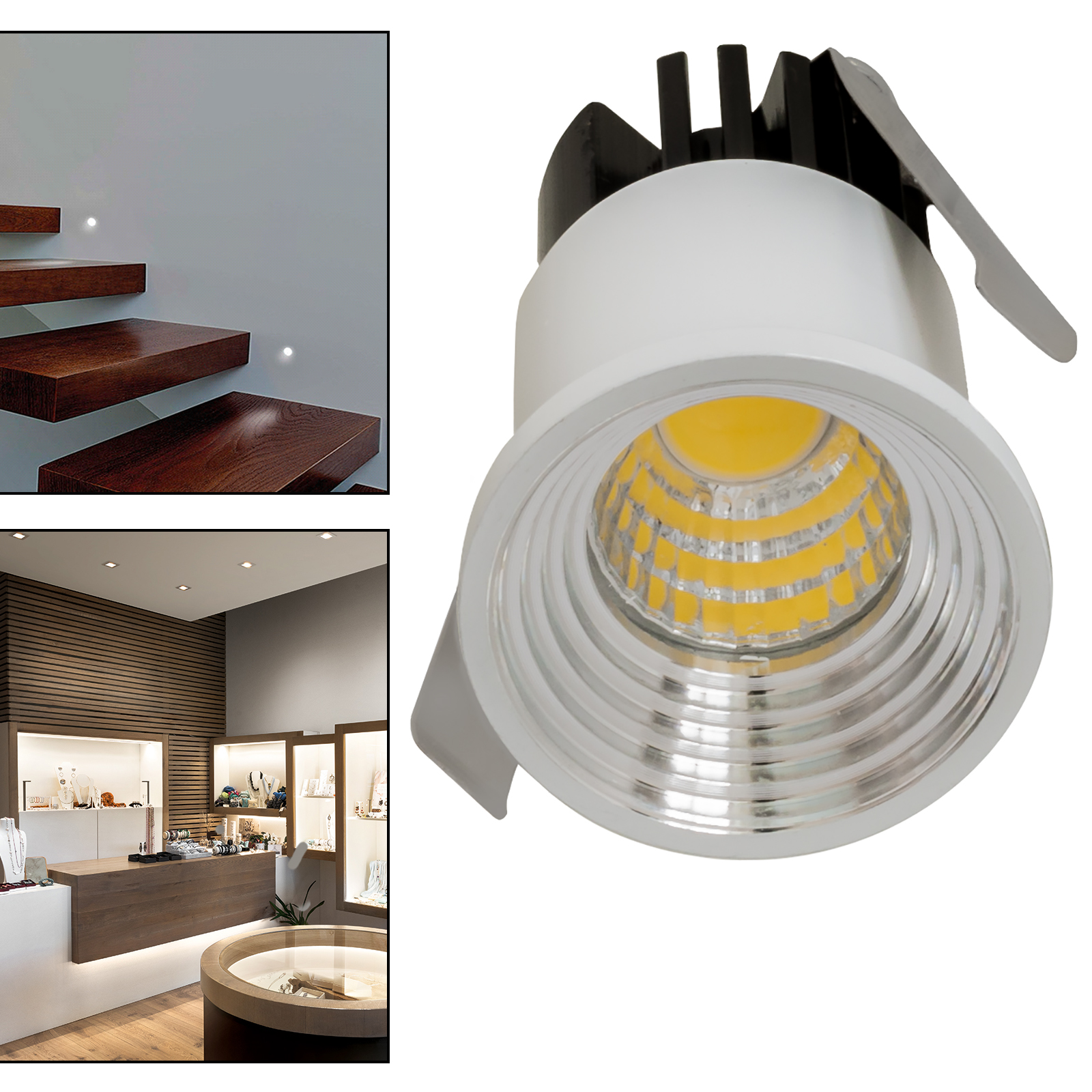 The light point collection 3cm 3W LED segnapassi mini-spotlight steps stairs showcases 230V