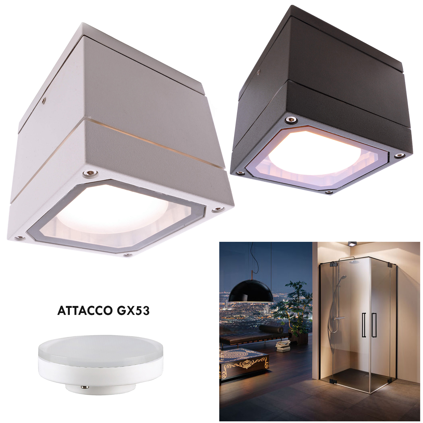 Square spotlight ceiling shower box turkish bath sauna LED lamp 6W GX53 230V