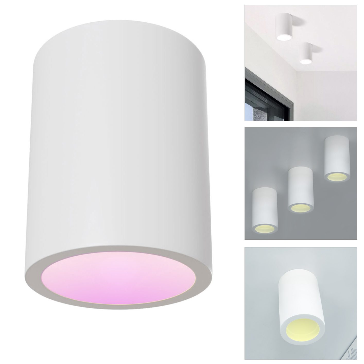 GU10 LED ceiling lamp plaster cylinder spotlight ceiling lights living room kitchen