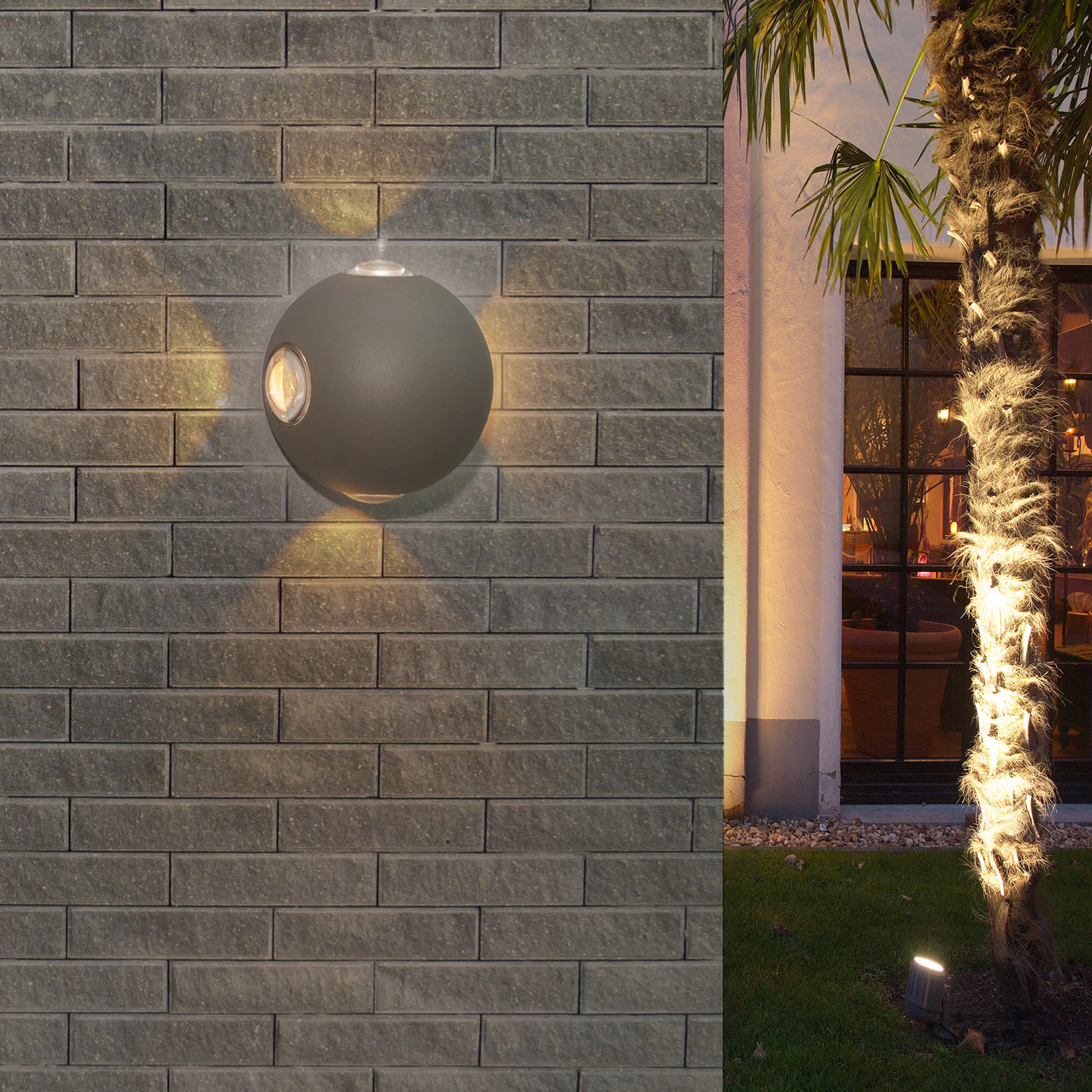 Wall sphere LED applique 10W 4 light beams cross decorative lamp IP65 230V