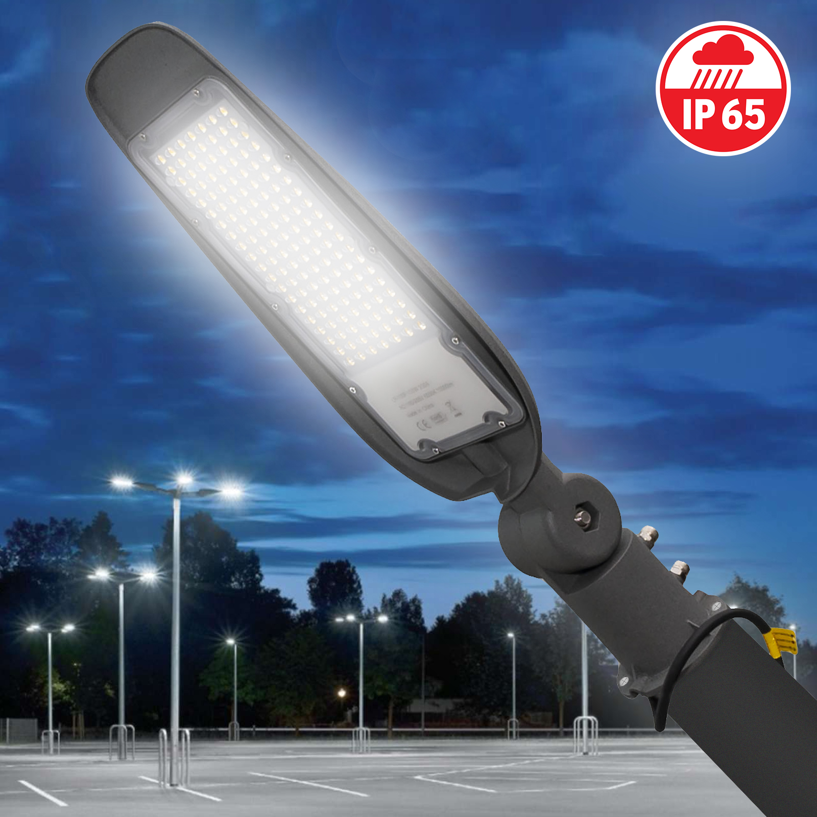 Street light lamp post LED 100W 10000lm tiltable 180 6500K IP65 230V