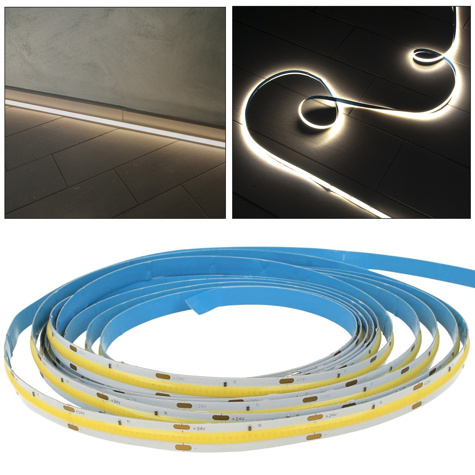 Flexible LED strip 24V COB continuous light blade 75W 10M profiles bars 7500lm