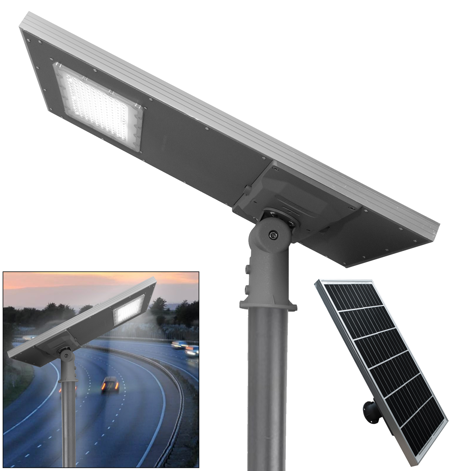 LED street light 300W twilight lamp with solar panel 3000lm outdoor IP65