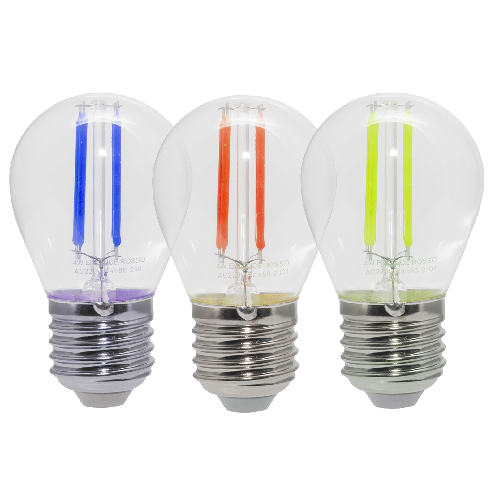 4W glass LED wire bulb decorative colored light 360 degrees E27 red green blue 230V light chain