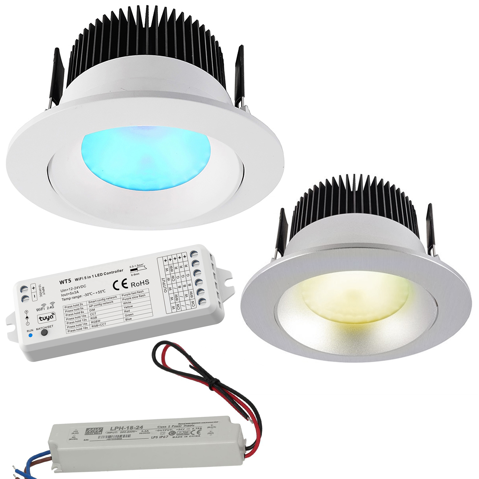 KIT cromoterapia faretto centralina WiFi LED 16W RGB 3000K 24V incasso 94mm luce colorata box doccia Alexa Google