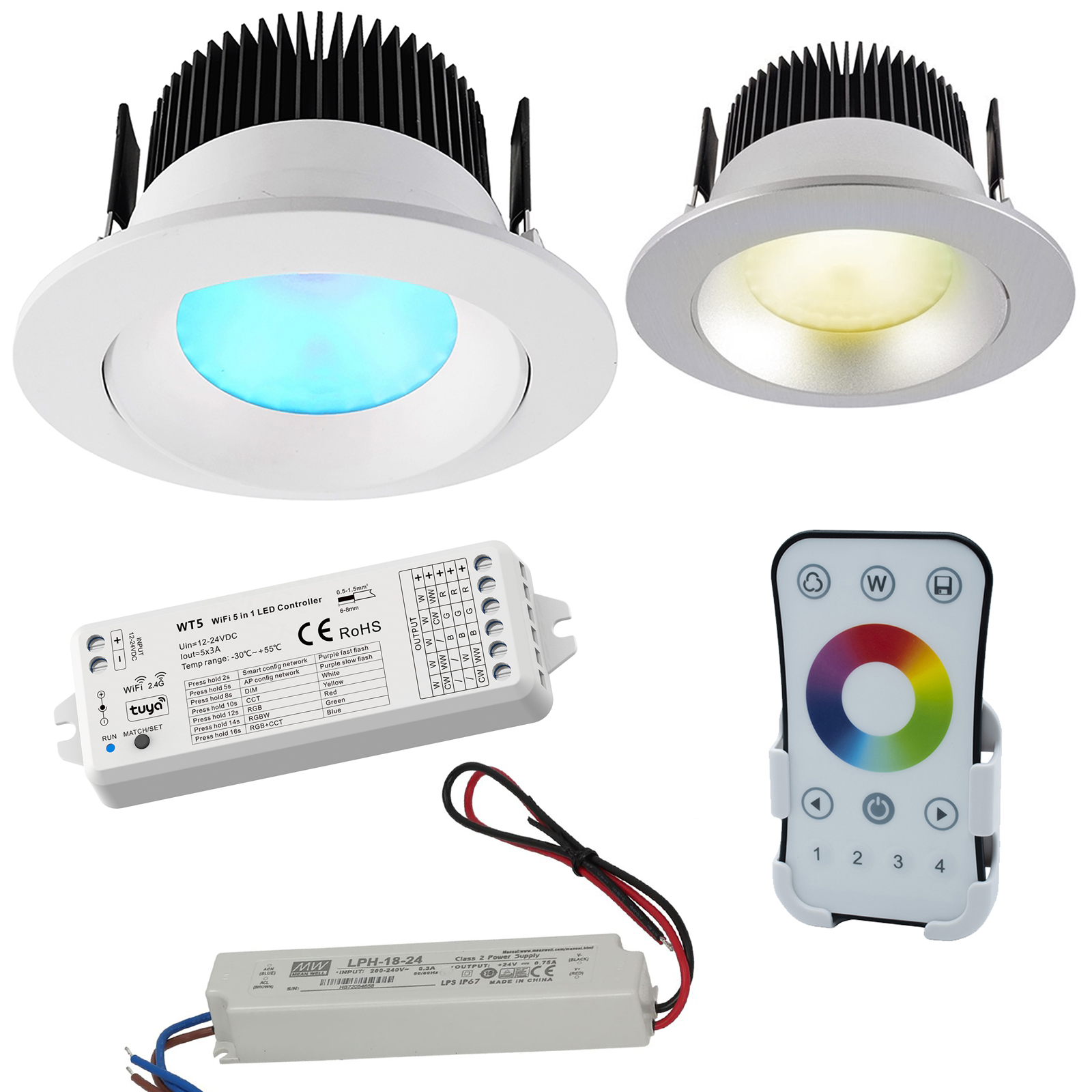 KIT cromoterapia box doccia LED 16W RGB 3000K 24V luce colorata incasso 94mm WiFi RF controllo vocale Alexa Google