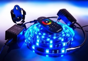 Strip led flex striscia 300 led rgb 5mt cromoterapia kit completo RGB 16 colori 4 giochi luce
