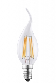 Lampada filamento led E14 luce calda 4 Watt fiamma LED FILAMENT LIGHT BULB 4W 35W 230V
