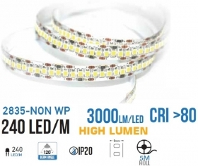 Strip 1200 LED SMD2835 striscia 5Mt alta luminosita 15000 lumen 90w 12v 240 led/mt