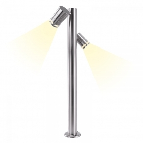 Lamp stainless steel garden light with double led spotlight adjustable led gu10 14w