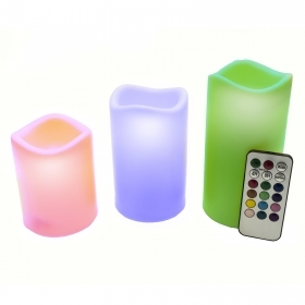 Set 3 Candles Led Rgb Light Candle Remote Control Fire Faux Chromotherapy Massage