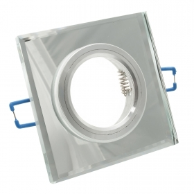 Port spotlight in mirrored glass square recessed spring hole from 55mm to 60mm