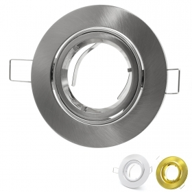 Portafaretto recessed adjustable aluminum hole 8cm color white gold satin finish