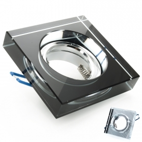 Port spotlight, recessed, decorative square glass mirror with hole 6cm GU10 GU5.3