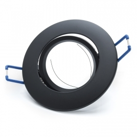 Door spotlight round recessed spring-loaded adjustable black GU10 GU5.3 MR16 hole 7cm