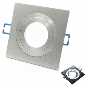 Port spotlight ring adjustable square brushed aluminium, hole 8cm GU10