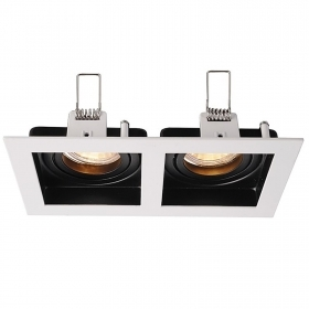 Port spotlight, recessed, black-and-white rectangular double light adjustable MR16 GU10