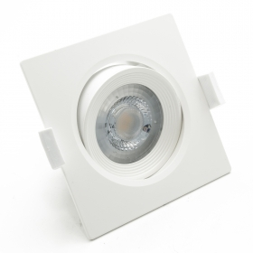 Led spotlight square 5W recessed slim swivel white spot hole 75mm 38 degree