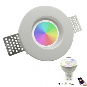 Spotlight round recessed plaster led smart RGBW color therapy lamp GU10 hole 10cm