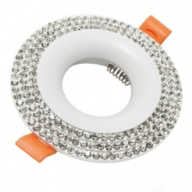Portafaretto recessed round swarovski crystals glitter white hole 65mm IP20