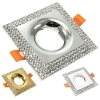 Portafaretto recessed square silver swarovski crystals, glitter, hole 65mm