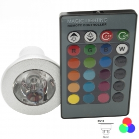 Downlight Led de la lámpara led gu10 led luz rgb multicolor 3w 220v cromoterapia 16 colores de luz