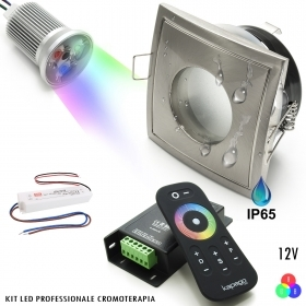 Kit, 2pcs led spotlights 18W square chromotherapy light DMX shower IP65 RGB 12V