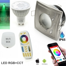 Kit 2 spotlights recessed shower bathroom IP65 SMART LED RGB CCT wifi Android iOS