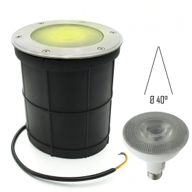 Spotlight floor flush-mounted steel, IP65 led lamp PAR30 12W spot E27 850lm
