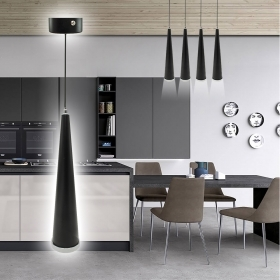 Modern lamp pendant suspension led 7W GU10 restaurant and bar aluminum black