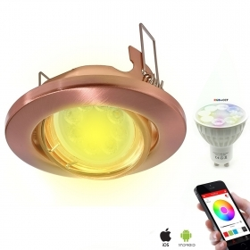 Led spotlight adjustable recessed copper lamp GU10 chromotherapy hole 7 RGBW