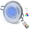 Downlight led adjustable round recessed lamp GU10 6W chromotherapy hole 7 RGBW
