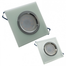 LED spotlight 8W recessed square glass diffuse light 150 degree GU10 hole 6cm 220V