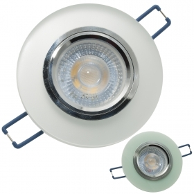 LED spotlight 5W spot 38 ° c flush-mounted round frosted glass GU10 hole 6cm 220V