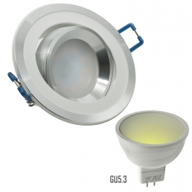 Spotlight adjustable LED 12V 7W two-tone recessed GU5.3 camper boat hole 70mm