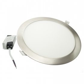 LED spotlight 20W panel silver 6000K recessed round ultra slim hole 22cm